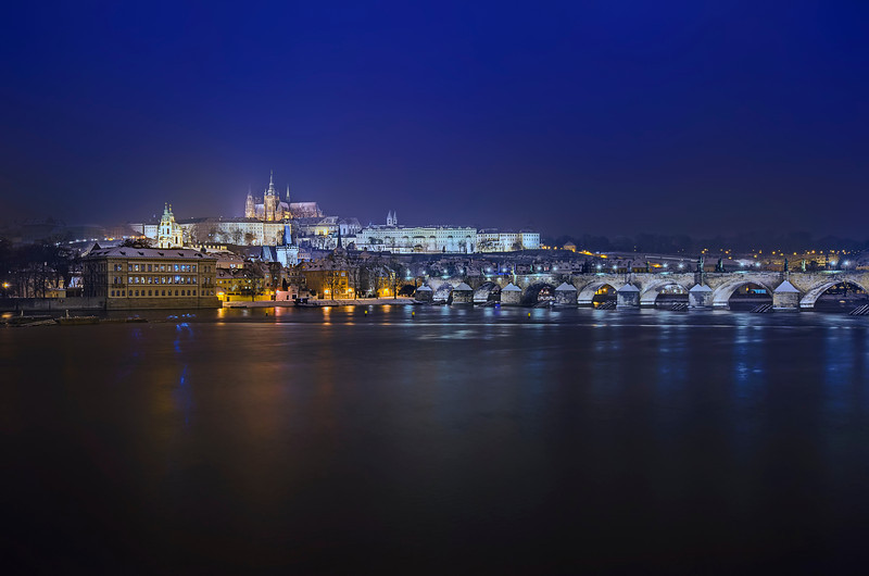 Vltava river at night.