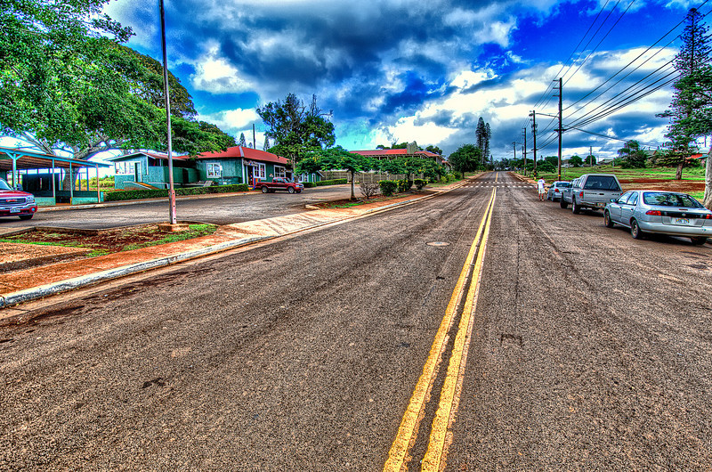 Traffic jam in Maunaloa, Molokai.