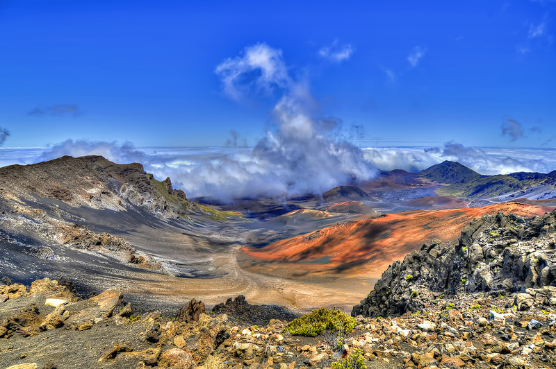 Haleakalā or the East Maui Volcano, is a massive shield volcano that forms more than 75% of the Hawaiian Island of Maui. The western 25% of the island is formed by the West Maui Mountains. Unlike Hawaii Island, where the USGS mapped the island into 1 of 9 Lava Flow Hazard Zones, there appears to have been little attempt to differentiate risks for different areas of Maui. The temperature near the summit tends to vary between about 5°C and16°C and, especially given the thin air and the possibility of dehydration at that elevation, the walking trails can be more challenging than one might expect.