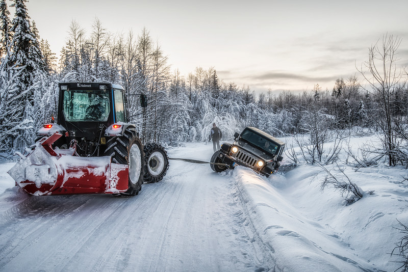Чем лучше джип — тем дальше идти за трактором… (The better the jeep - the further you go for the tractor ...).  Third time in last few days... And the second trench in the same day... Finland.