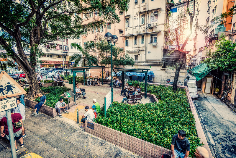 Hong Kong. Central Rest Park...Big one. People coming to get rest, read a book, practice Thai Chi... Be cause flat, where most people live its about 2x2 m...