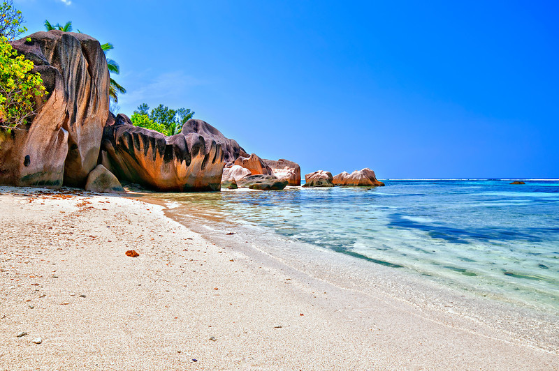 Beach with entrance fee.  Anse Source d'Argent.