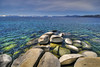 Lake Tahoe is the second deepest lake in the U.S., with a maximum depth of 501 m and is a large freshwater lake in the Sierra Nevada! Tahoe is also the 16th deepest lake in the World. The Lake Tahoe Basin was formed by a geologic block faulting. Modern Lake Tahoe was shaped and landscaped by scouring glaciers during the Ice Ages, which began a millions years ago. Soils of the basin come primarily from andesitic volcanic rocks and granodiorite, with minor areas of metamorphic rock. Vegetation in the basin is dominated by a mixed conifer forest of Pinus jeffreyi, Pinus contorta, Abies concolor, Aabies magnifica and others. Lake Tahoe never freezes. Surface altitude 1,897 m. Residence time 650 years. Max. length 22 mi (35 km) Max. width 12 mi (19 km). Shore length 71 mi (114 km).