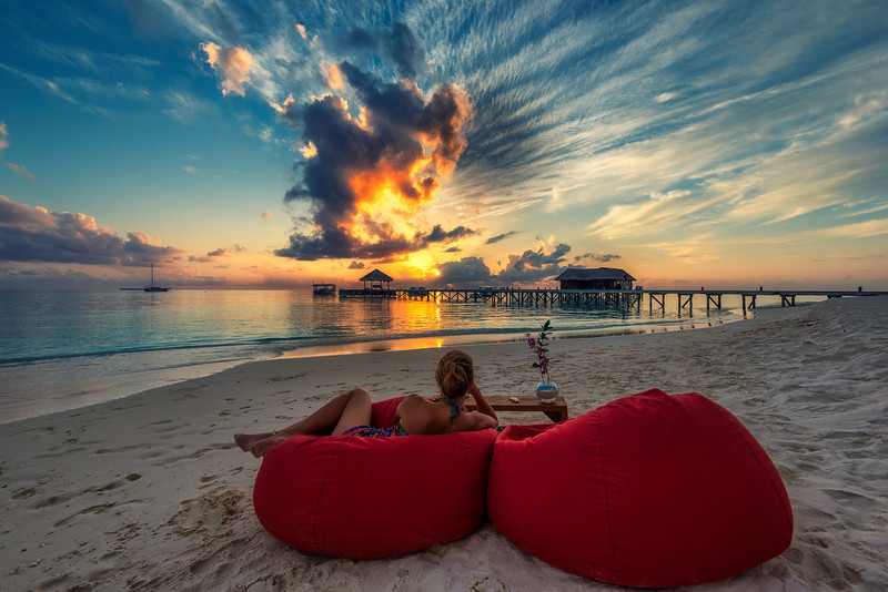 Infinity Sunset. Maldives