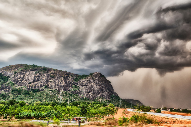 First tropical storm on route. Abuja. Nigeria.