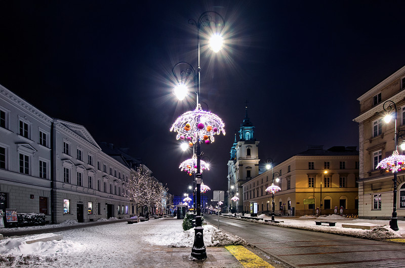 Night in Warsaw (Warszawa). Poland