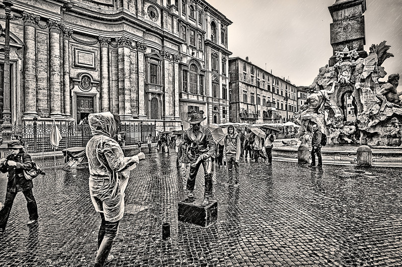 Rain over the mime. Rome.