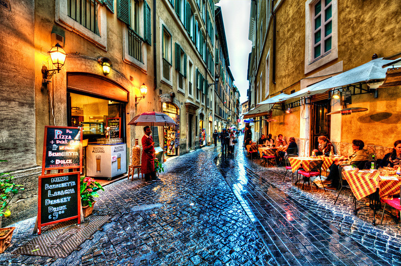 Somewhere in Rome Old Town. Raining.