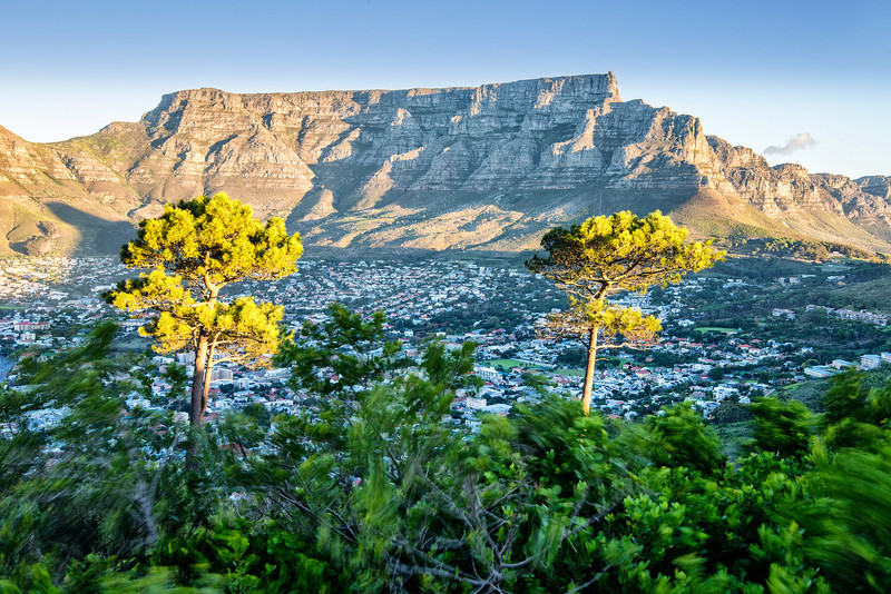 Wind on Table Mountain. Cape Town.