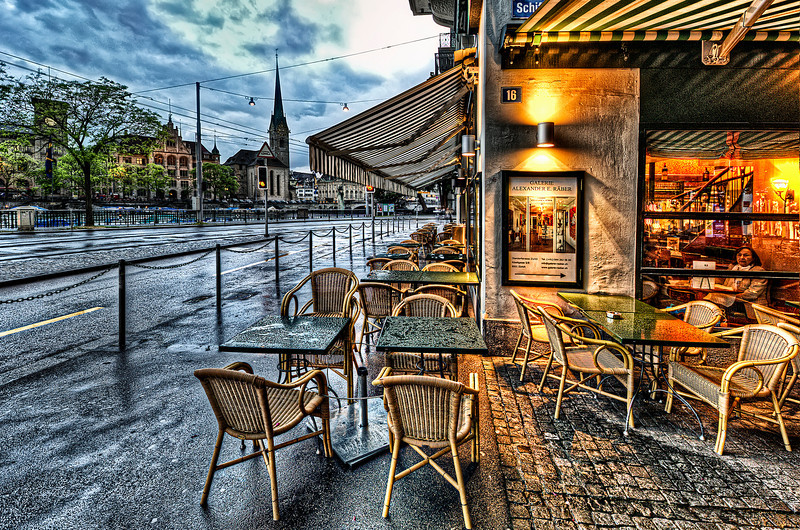 Coffee and Pizza after rain in Zurich