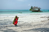 Lonely Maasai girl on the beach <br /> Zanzibar
