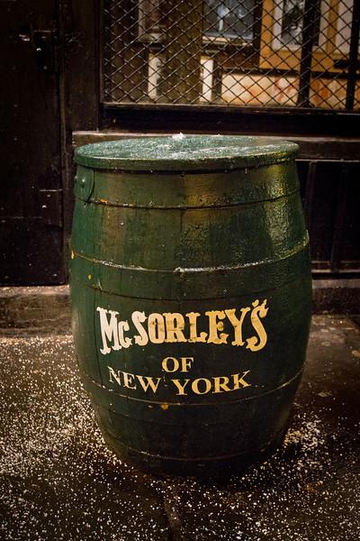 mcSorley's beer barell.