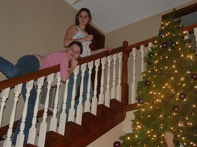 """Liz and Sammy D """"work"""" upstairs."""