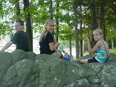 "Left to right:  James (sitting on ""butt rock""), CiCi, and Siara"