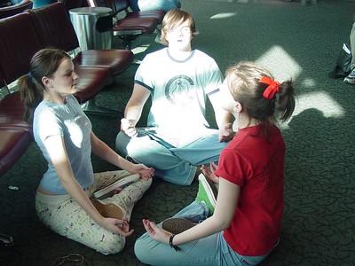 Lizzie, Zack, and Sammy H. finding their center.