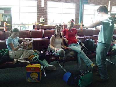 Waiting for our flight out of Arkansas.