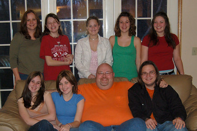 Our Blendered Family Back row left to right: Kim, Liz, Sarah, Nickole and Ashley Couch left to right: Sammy, Samantha, Jon and Zackery