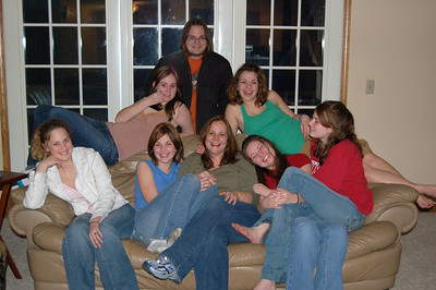 Couch left to right: Sarah, Samantha, Kim, Ashley and Liz Back row left to right: Sammy D., Zack and Nickole