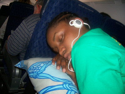 Anica Parrish, a member of my team, sleeping on the plane. Whatta cutie.
