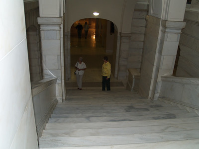 The two proud grandma's coming up the stairs to the rotunda.