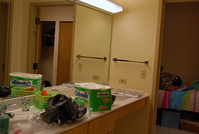 The girls will share this bathroom with 2 other girls in an adjoining dorm room.