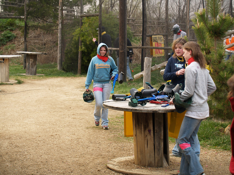Marissa, Lauren and Ricki getting ready for another round of paintball.