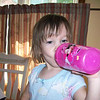 """Drinking her morning cup of milk. She calls it her """"cossey"""" because Mama and Papa drink their coffee in the mornings."""