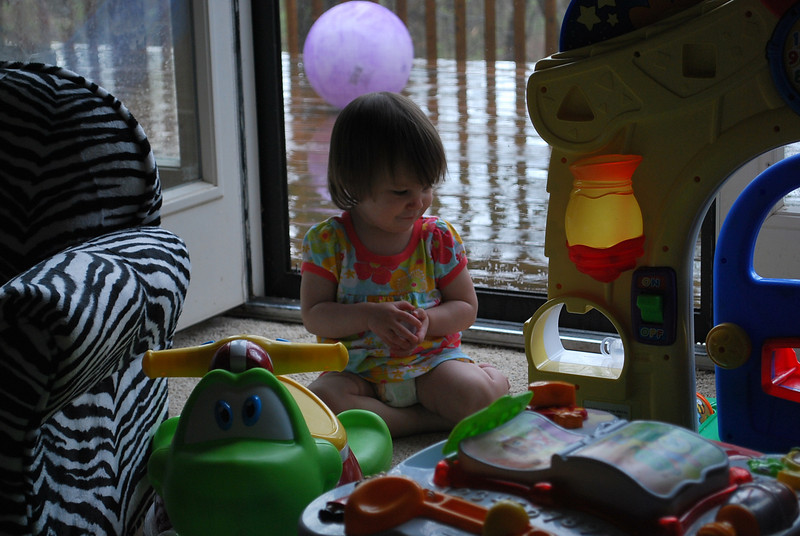 Playing inside on a rainy day.