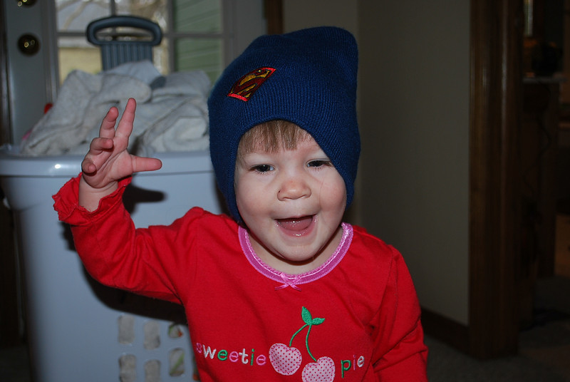 She found this hat and had to try it on.