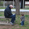 Talking to Papa at the park.
