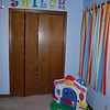 Shiloh's nursery. Big sister Sam and her friend Ally painted the letters over the closet door.