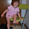 Green chair in Shiloh's bathroom.