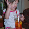 Getting excited about her sweet tea.