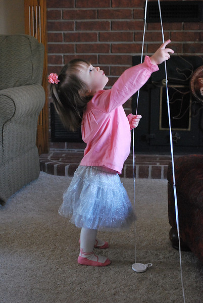 Playing with balloons.