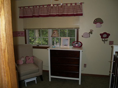 The furniture is all from Wal-Mart.com.  The dresser, crib and changer are BabyMod Roxanne.  And the big chair is George Seaside Mocha.