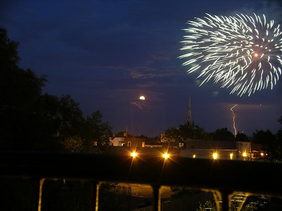 Pointe Claire village's full moon, July 1st fireworks, and lightning from my balcony on Lanthier.