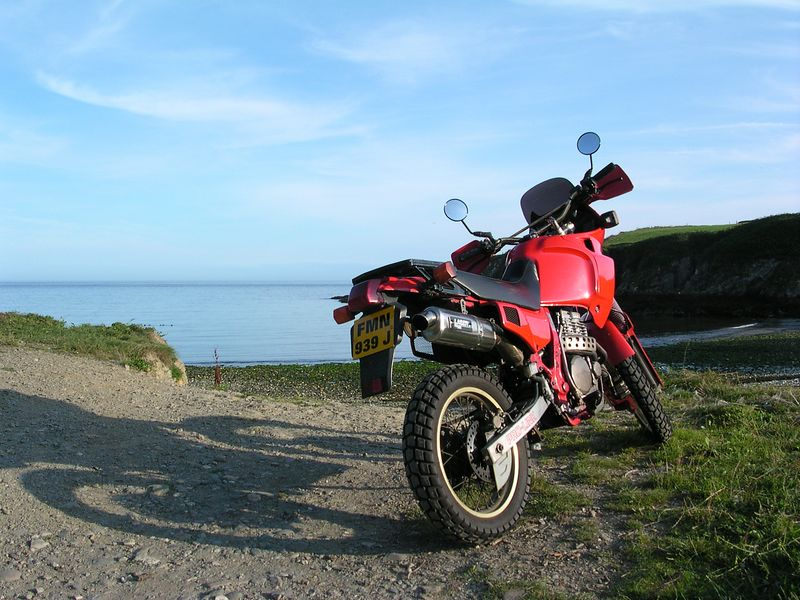 First ride after purchasing the bike in July 2004.  Stopped at Port Grenaugh on the east coast of the Isle of Man, just south of the capital, Douglas.