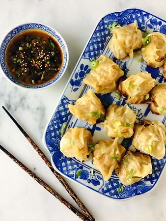 Chicken & Vegetable Potstickers with Soy Mustard Dipping Sauce