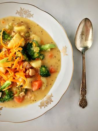 Creamy Broccoli, Cheddar and Mustard Chicken Chowder