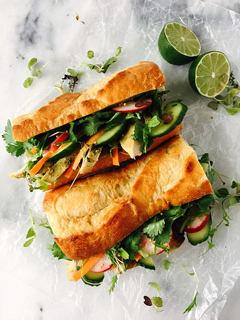 Grilled Chicken Banh Mi Sandwiches with Pickled Vegetables in a Mustard Vinaigrette