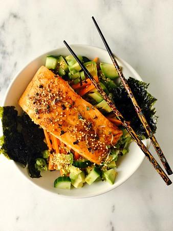 Teriyaki-Glazed Steelhead Trout, Cucumber, Avocado and Mustard Rice Bowls
