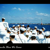 Riding in a liberty launch headed for Manila and some fun.  Some of the crew of USS Tolovana (AO-64).  December 1954.