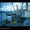 """Launching ship""""s boats in Sasebo, Japan between Christmas and New Year 1954.  We celbrated Christmas in Hong Kong and New Year's eve in Sasebo.  Tough duty. ;-)"""