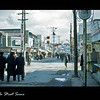 We (USS Tolovana AO-64) are in Sasebo, Japan to load  up cargo . . . . black oil, jet fuel, and aviation gasoline.  Also, for some R&R. This is a street scene in Sasebo We spent most of our liberties here shopping etc.