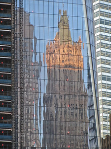 Woolworth Building reflected in Freedom Tower
