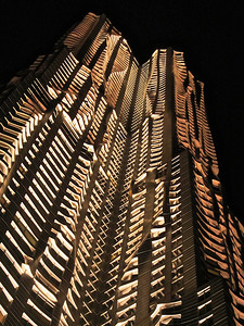 Frank Gehry's 8 Spruce St. at night