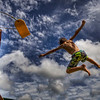 """Flying High Again""<br /> August 11th, 2012<br /> My son, Nicholas, jumping off his swing set at home<br /> Acushnet, MA"