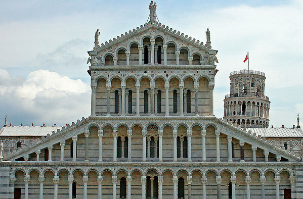 The Duomo in Pisa, Italy with the Leaning Tower