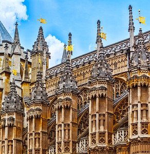 The architecture around and part of the Westminster Abbey and the Westminster Palace complex...