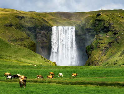 Skogafoss Waterfall on the South Coast of Iceland.